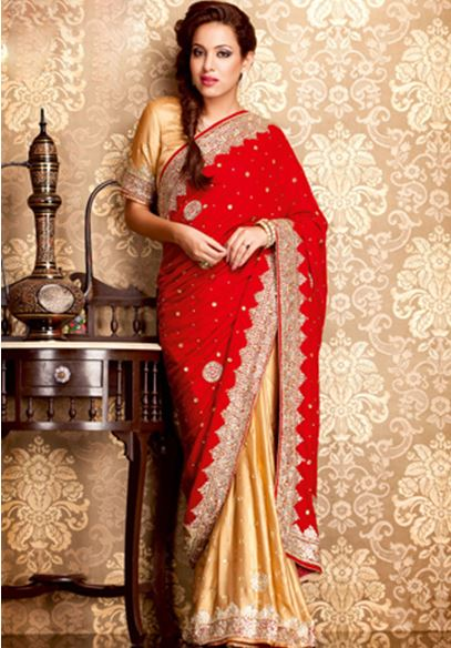 Red Velvet Saree